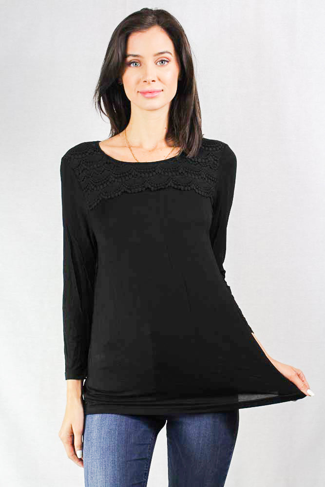 Women's Long Sleeve Black Top with Crochet Chest Details