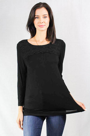 Long Sleeve Black Top with Crochet Chest Details