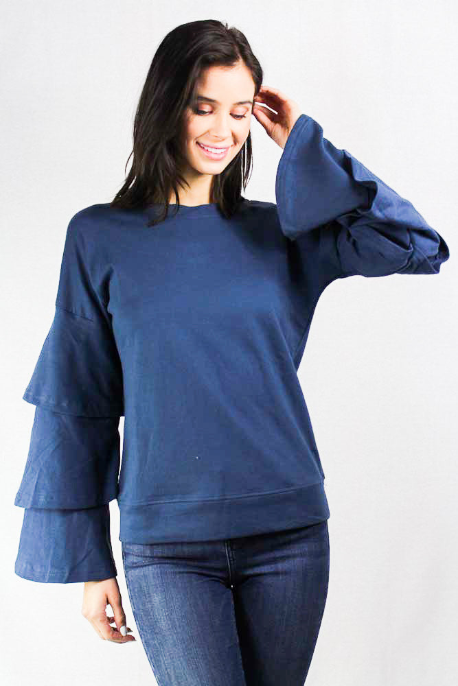 ruffled layered long sleeve sweater crew neck