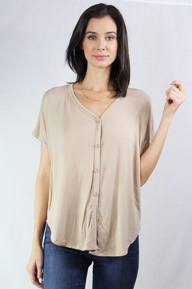 short sleeve relaxed fit button up top