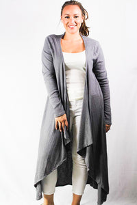 plus size long sleeve ribbed cardigan