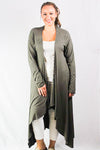 Plus size long sleeve maxi  cardigan striped