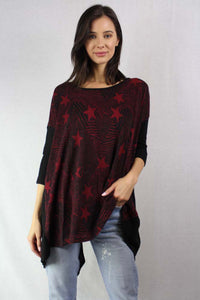 long sleeve star print knit tunic top