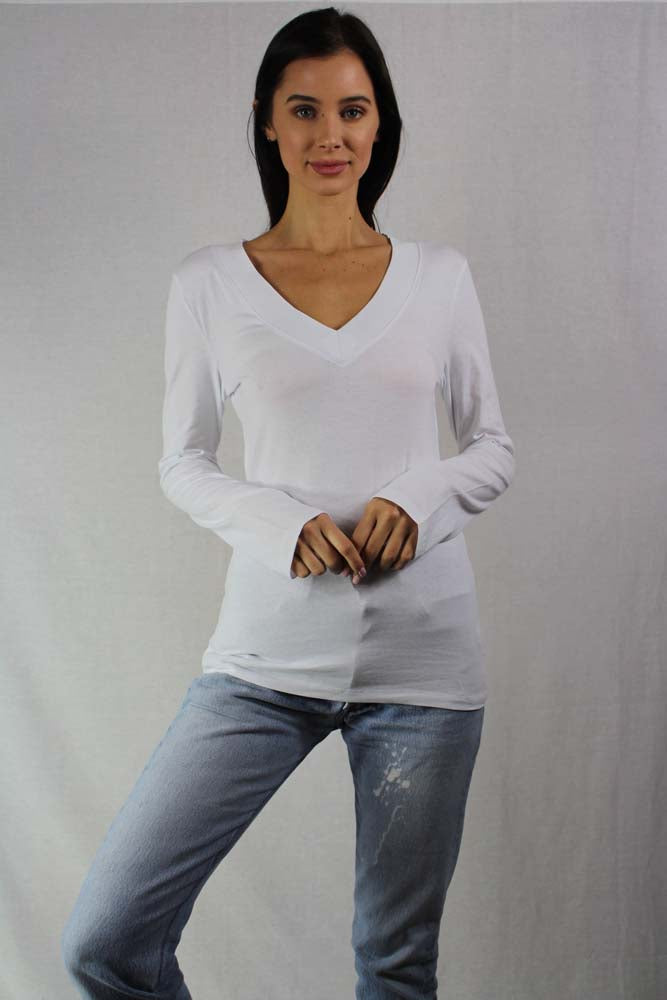 Women's Long Sleeve Basic V Neck Top
