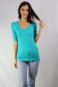 3/4th sleeve scoop neck basic tee