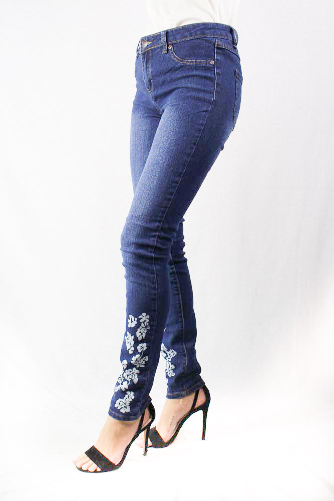 blue washed denim with floral detail