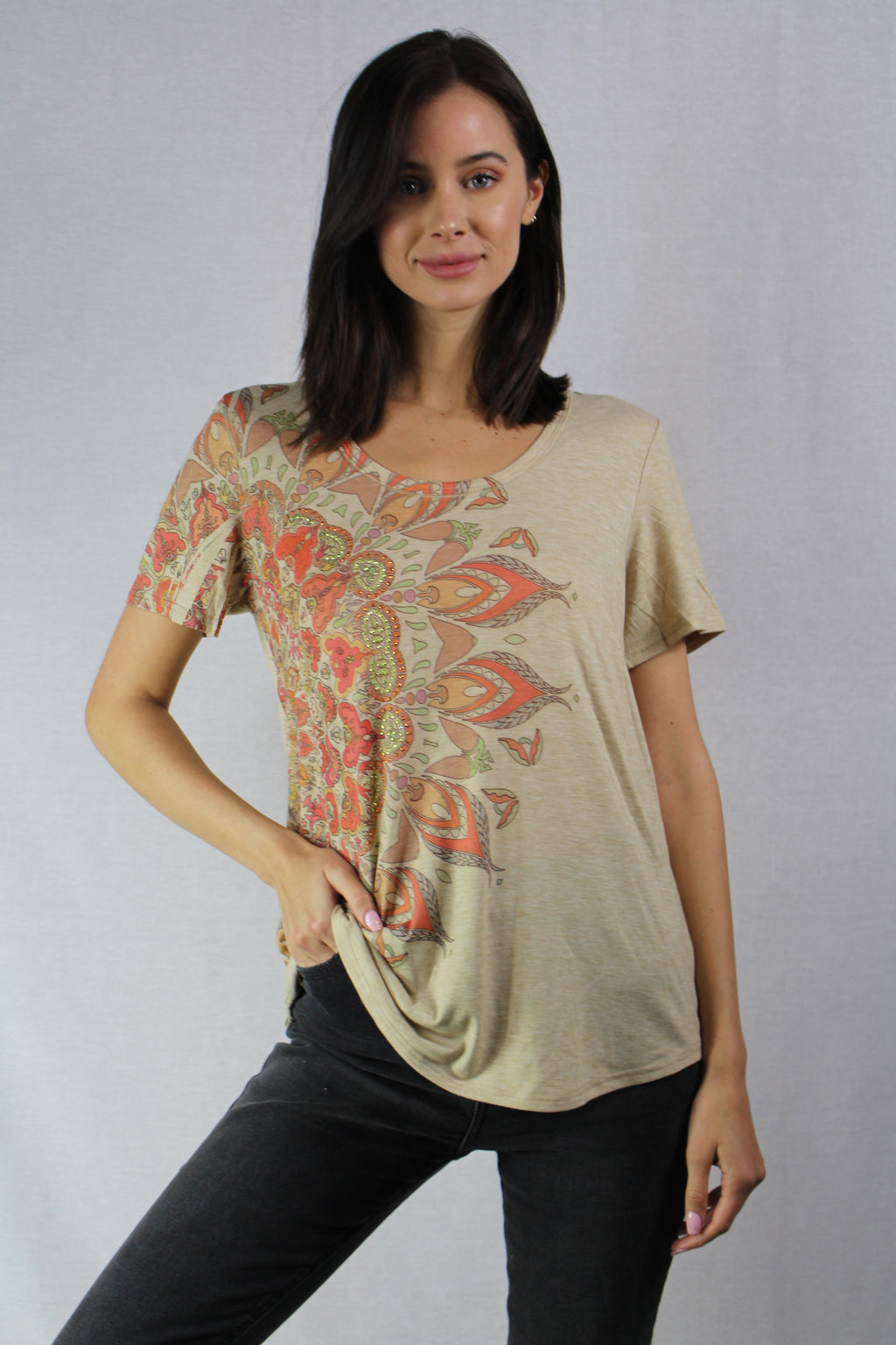 short sleeve printed top with a scoop neck