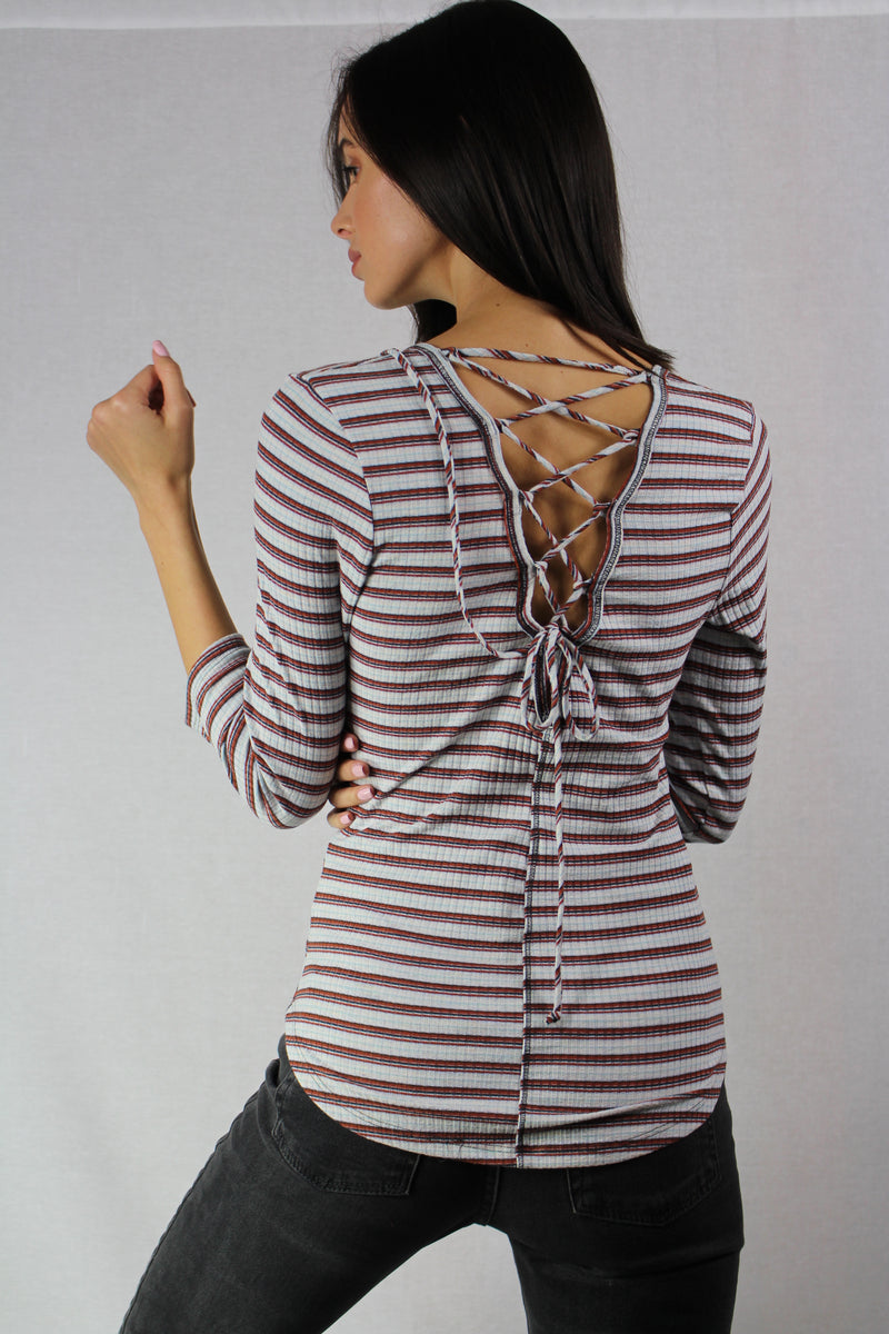 long sleeve striped top  with a lace up back