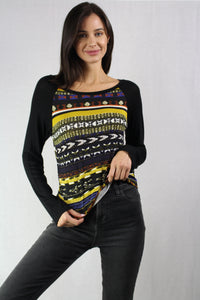 long sleeve multi colored printed top