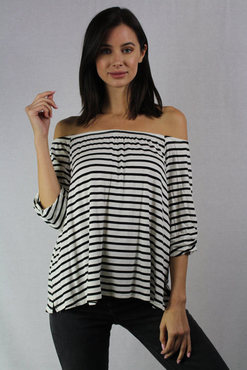 3/4th sleeve striped off the shoulder top