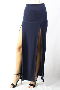 navy high slit maxi skirt