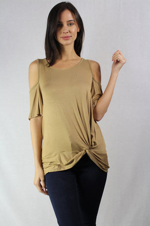 short sleeve cold shoulder scoop neck top