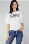 feminist lace-up top