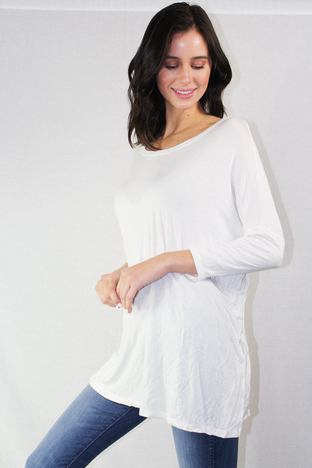drop shoulder dolman sleeve top