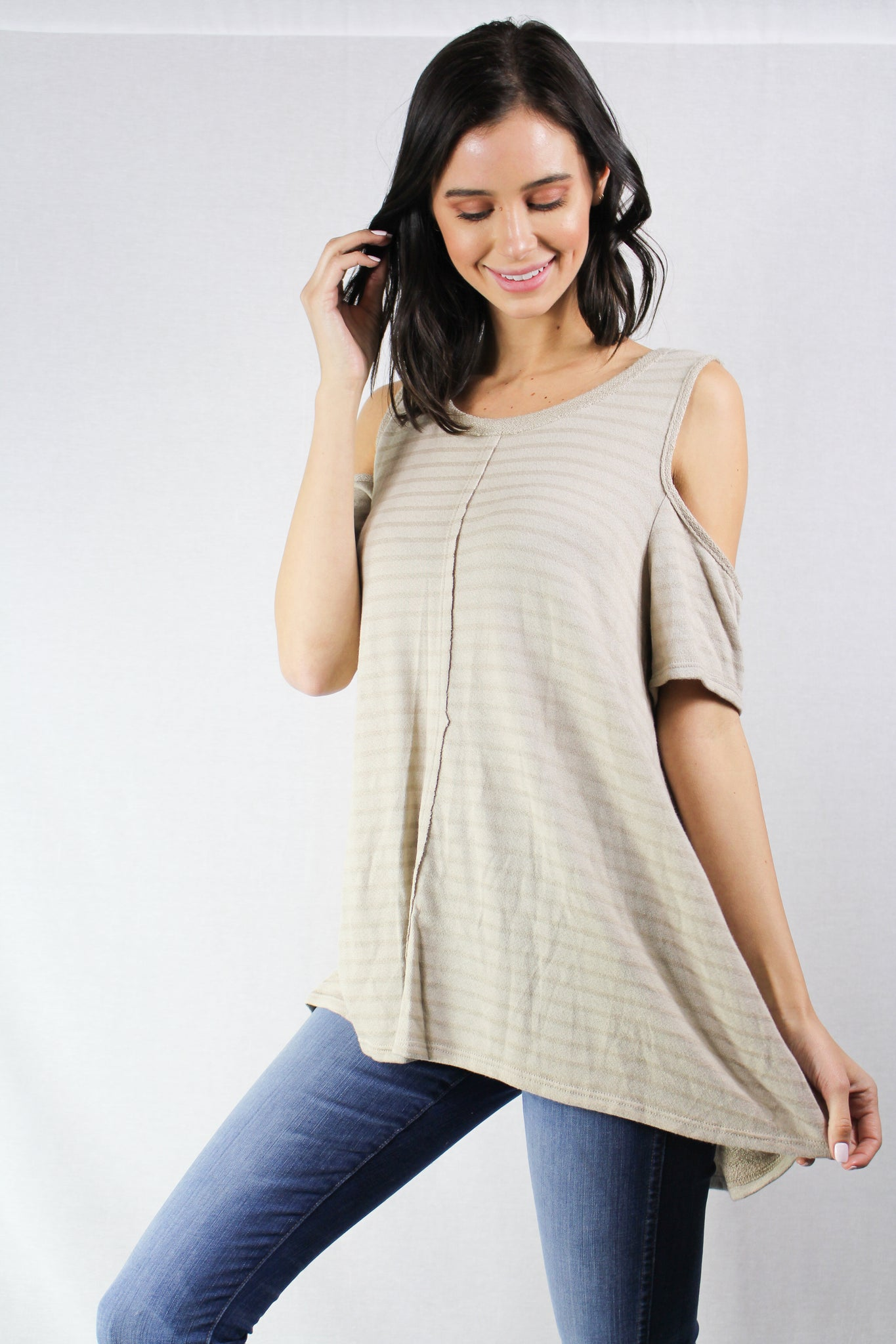 cold shoulder striped tunic top