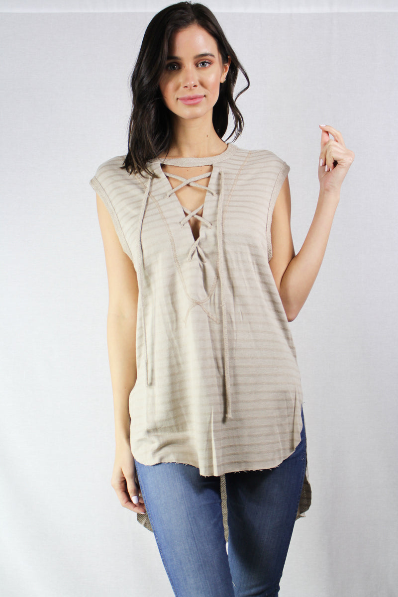 high-low sleeveless lace-up top
