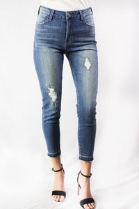 destroyed denim with release hem