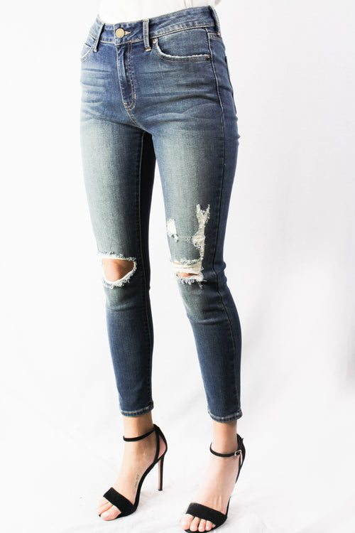 medium washed distressed skinny jeans