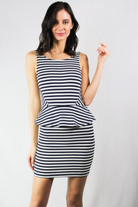 striped mini peplum dress