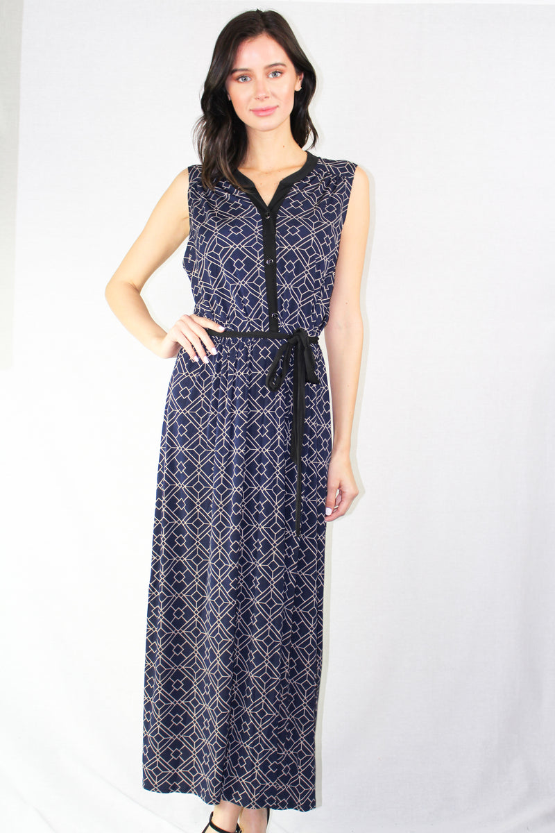 sleeveless printed navy dress