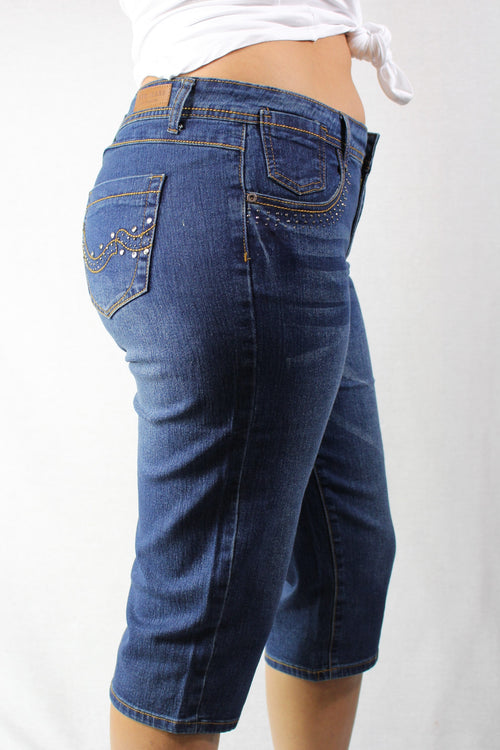 Plus Size Blue Washed Knee Length Jeans