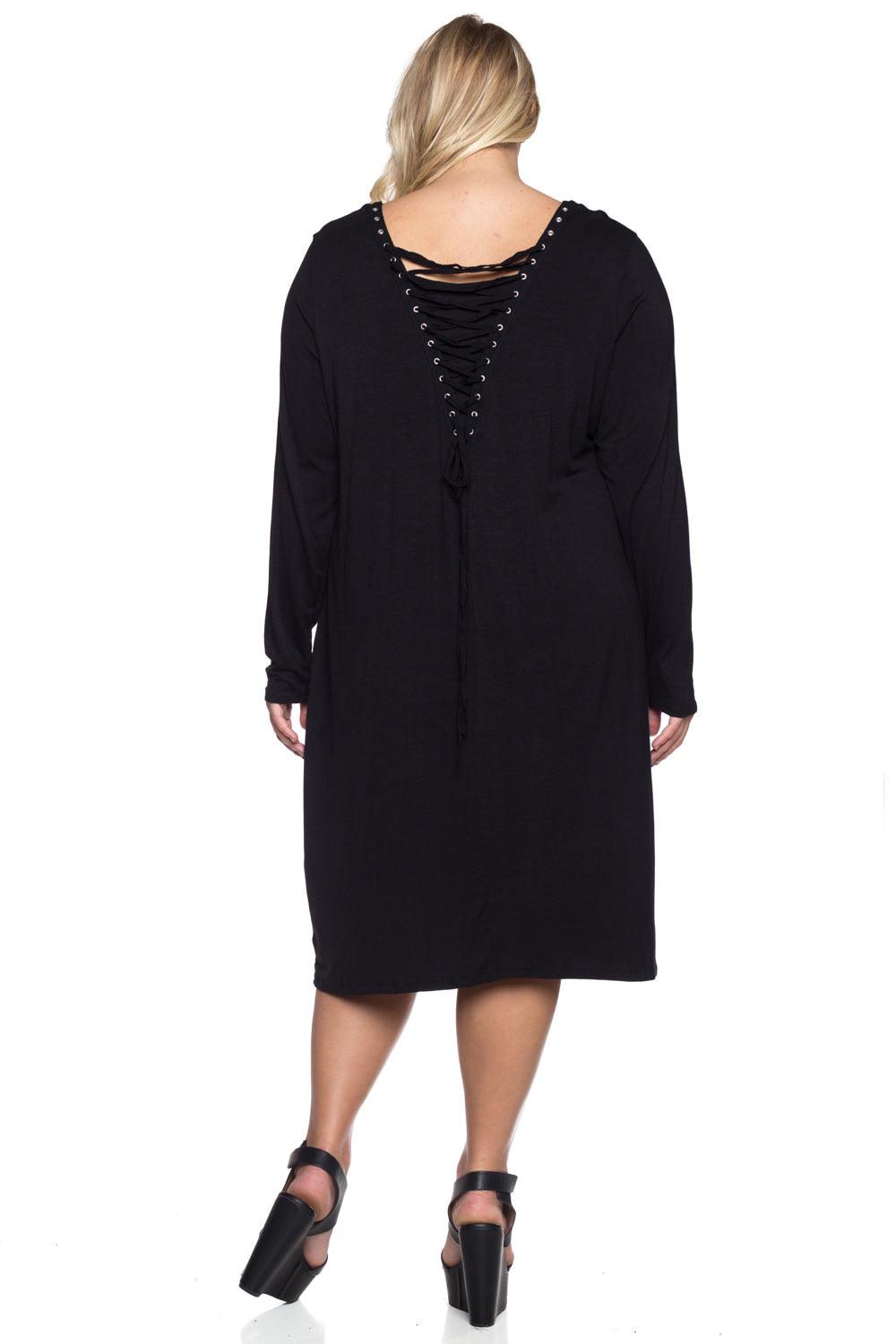 Women's Plus Size Stretch Knit Lace-up Dress
