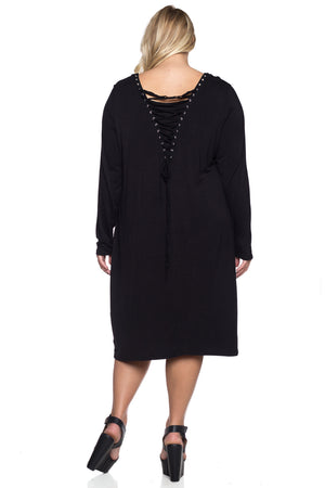 Plus Size Stretch Knit Lace-up Dress