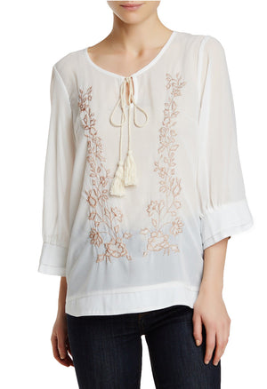 Ivory Embroidered Fashion Blouse