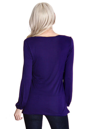 Dark Purple Long Sleeve Blouse