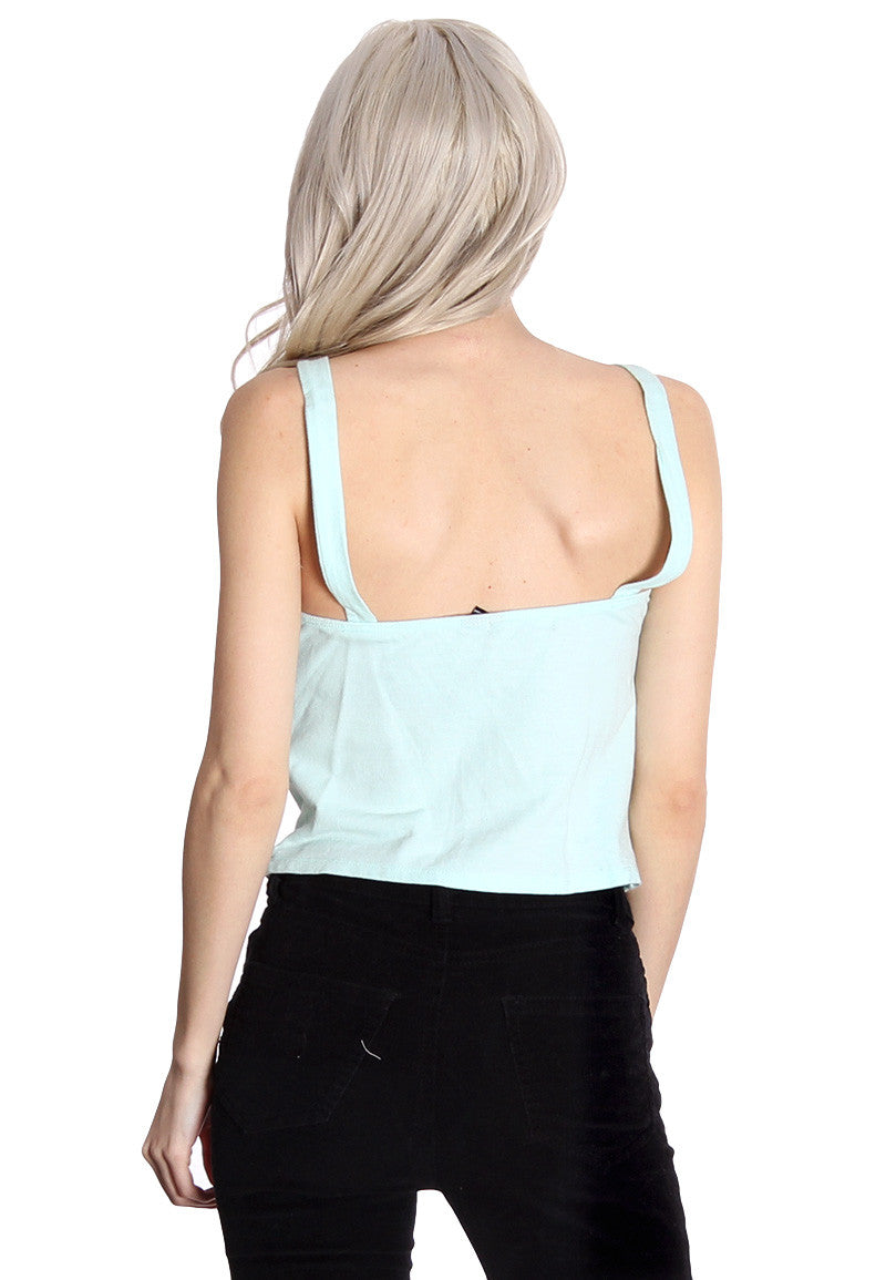 Mint Zip Down Crop Top