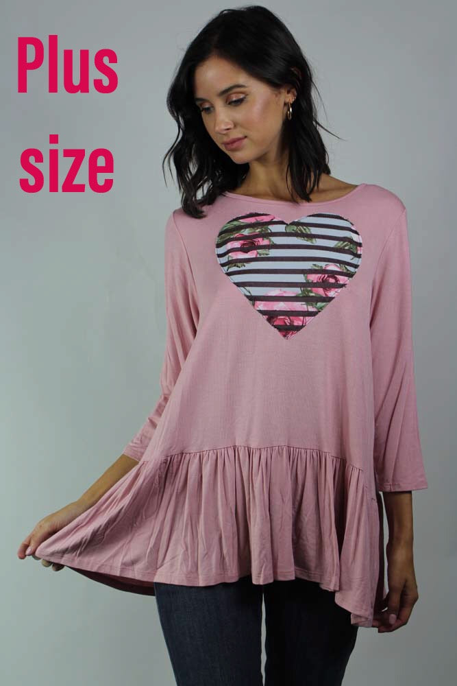 PLUS SIZE long sleeve ruffle detailed heart top