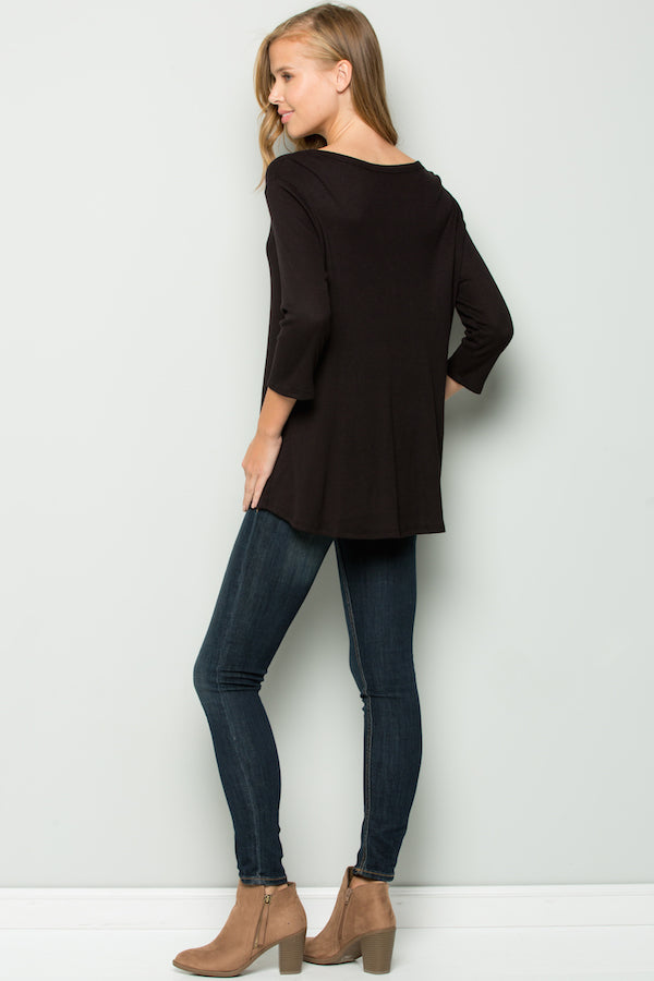 Women's 3/4th Sleeve Solid Top with Knot ***