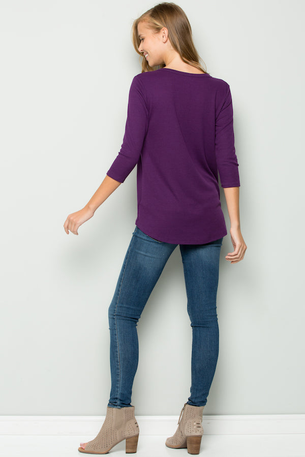 Women's 3/4th Sleeve Solid Top with Knot