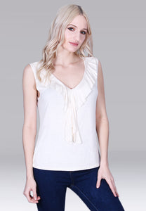 Ivory Ruffle-Front V Neck Sleeveless Blouse