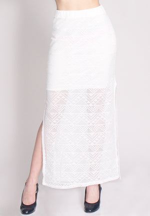 White Crochet Maxi Skirt