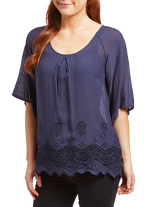 Navy Lace-Hem Scoop Neck Fashion Top