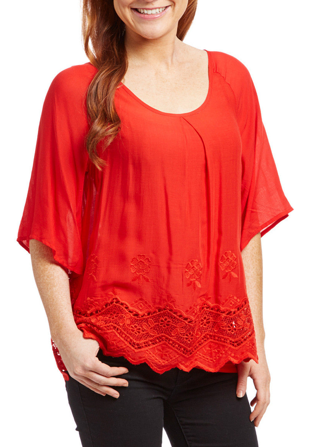 Red Lace-Hem Scoop Neck Fashion Top