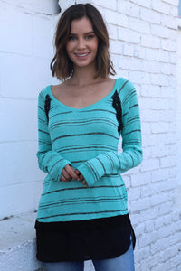 Women's Long Sleeve Teal Strip Knitted Sweater