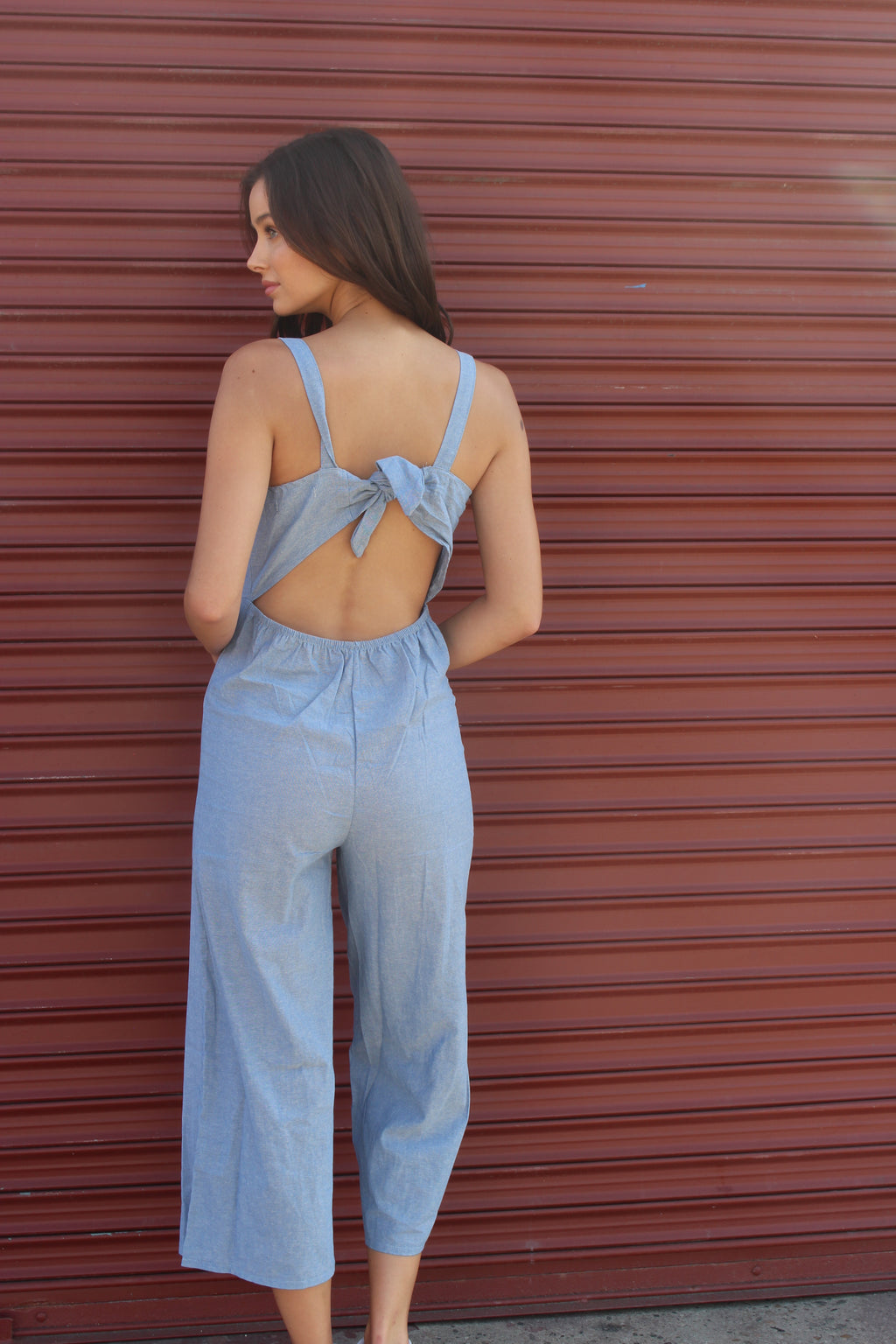 Women's Open Back Jumpsuit with Button Detail