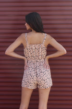 Women's Strappy Cheetah Romper with Ribbon Detail