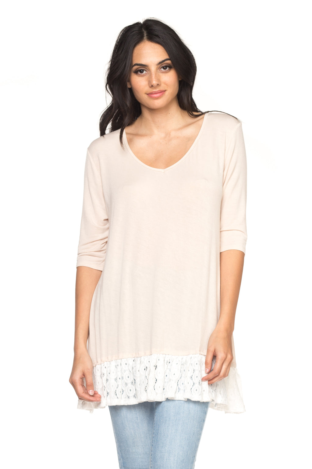 Women's Wide Neck Tunic with Lace Hem