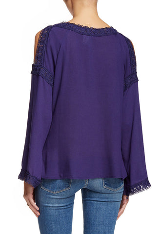 Navy Flared Sleeve Open Shoulder Blouse