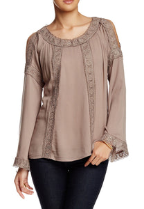 Taupe Flared Sleeve Open Shoulder Blouse