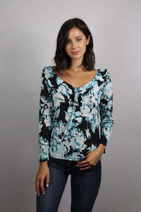 long sleeve v neck floral