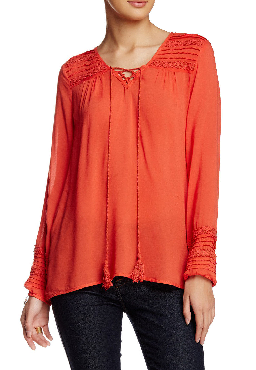 Rust Lace-Up Neck Pintuck Blouse