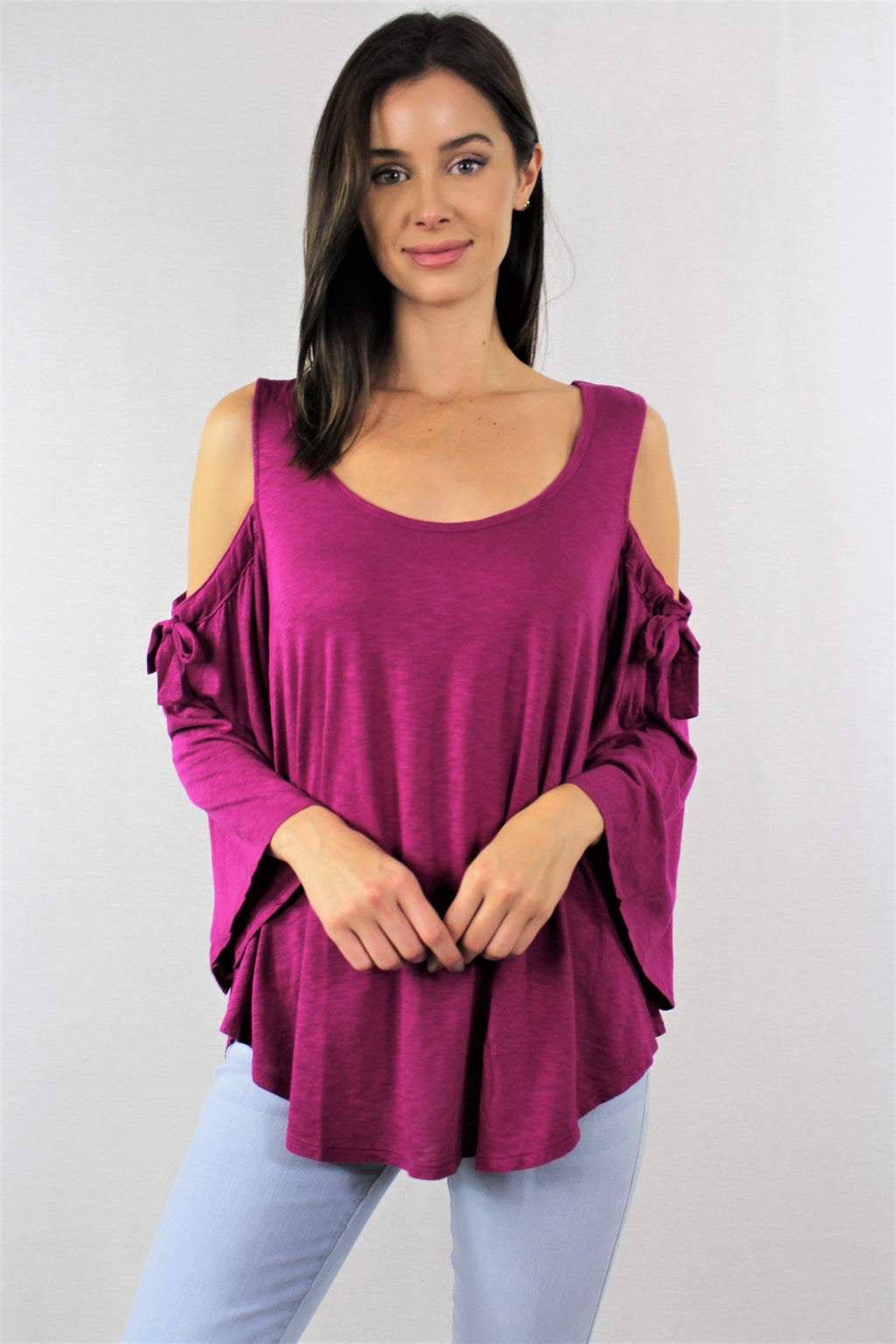 Women's Cold Shoulder Wide Hem Top