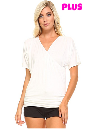 Plus - Front Wrap V Neck Short Sleeve