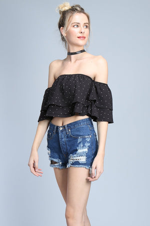 polka dot off shoulder top