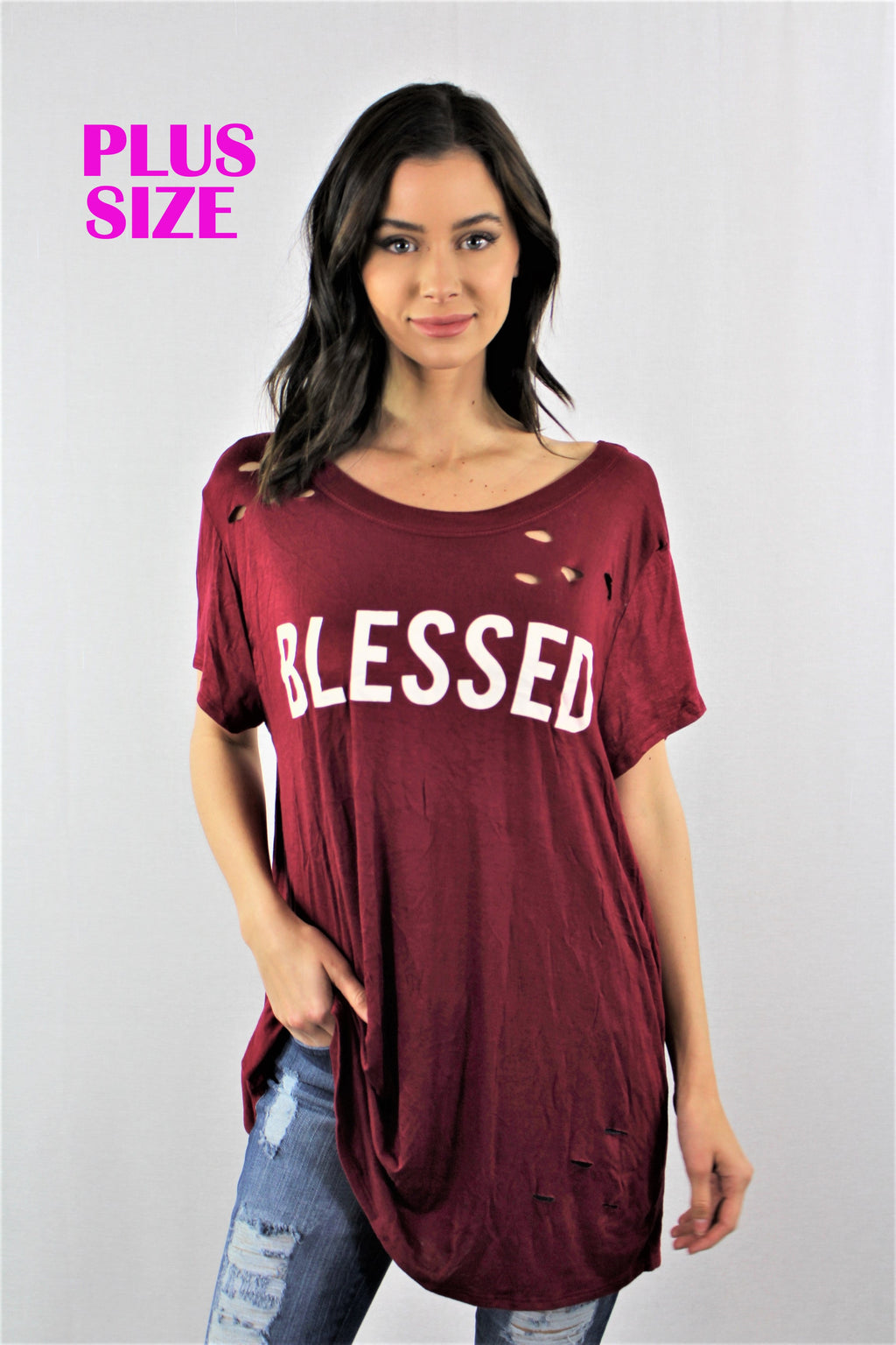 Blessed Loose Top with Ripped Detail