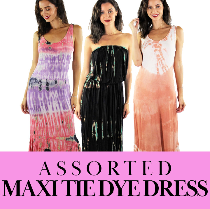 Women's Assorted Maxi Tie Dye Dresses 10/pack